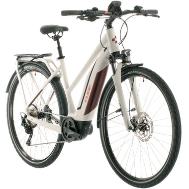 Bicicleta de viaje eléctrica CUBE TOURING HYBRID PRO 500 TRAPEZ Mujer Gris/Rojo 2020